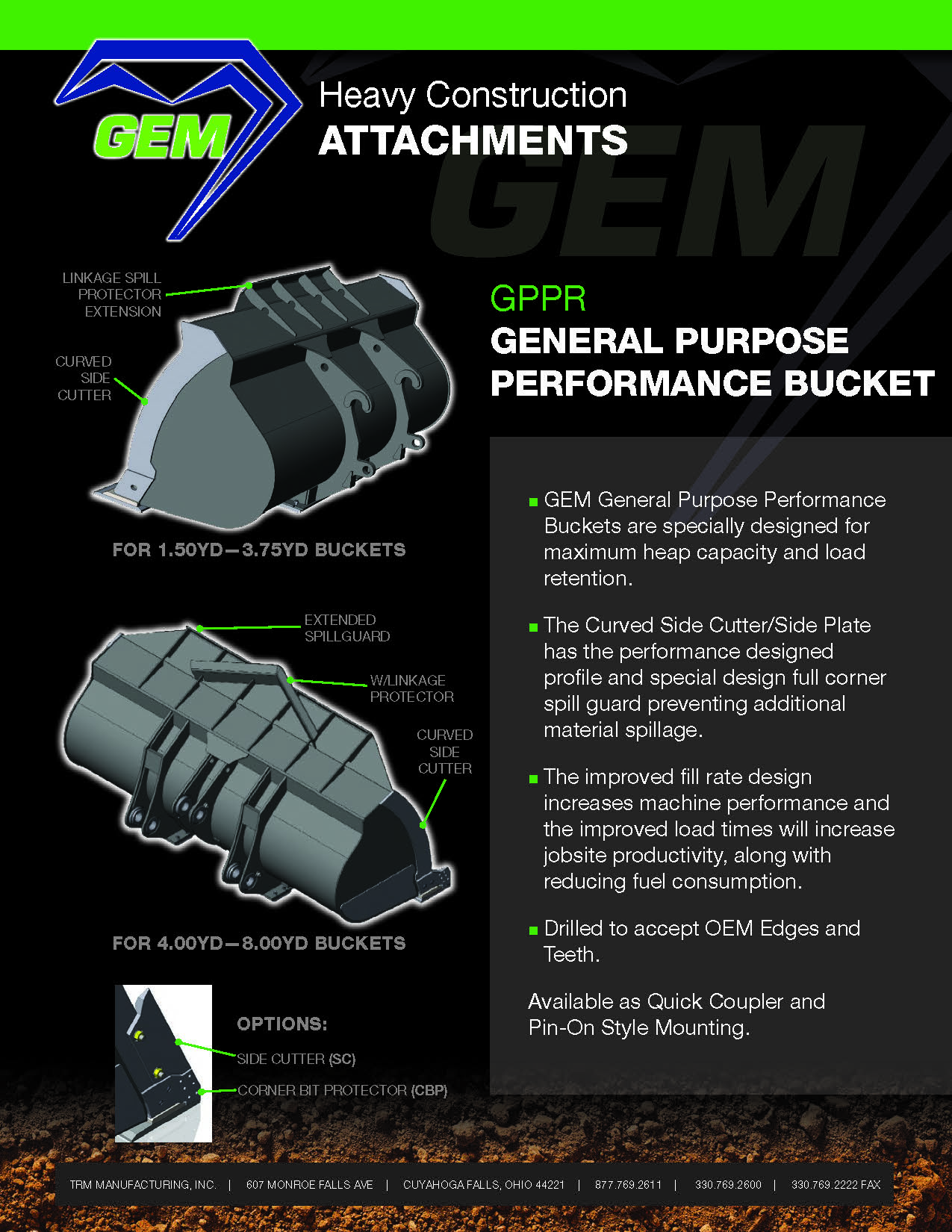 General Purpose Performance Bucket | Gem Heavy Construction Attachments